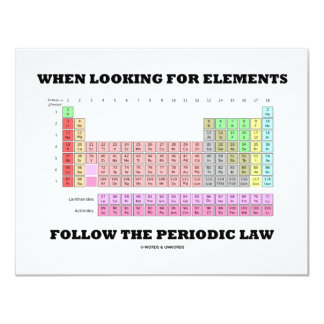 When Looking For Elements Follow The Periodic Law 11 Cm X 14 Cm Invitation Card