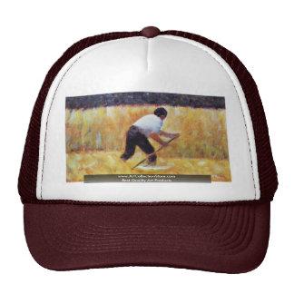 When Mowing (Le Faucheur) By Seurat Georges Mesh Hats