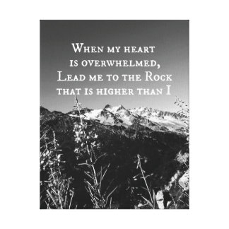 When My Heart is Overwhelmed Bible Verse Canvas Print