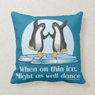 When On Thin Ice Dance Penguins Cushion