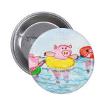 When Piglets Float  - Swimming Pigs Pinback Buttons