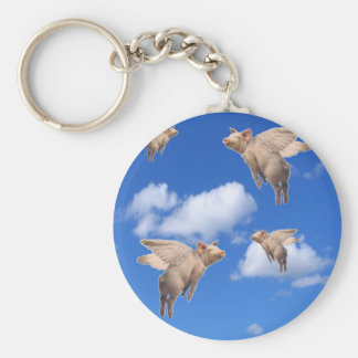When Pigs Fly Basic Round Button Key Ring