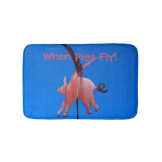 When Pigs Fly Funny, Whimsical Bathroom Decor Bath Mats