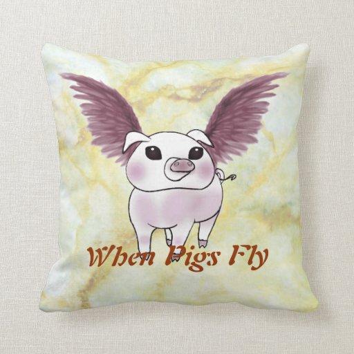 When Pigs Fly Ha-Ha Polyester Throw Pillows