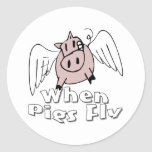 When Pigs Fly Round Stickers