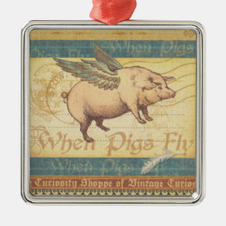 When Pigs Fly Silver-Colored Square Decoration