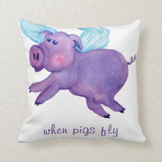 When purple pigs fly watercolor throw pillow