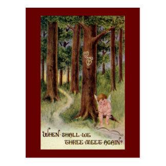 When Shall We Meet Vintage Valentine Postcard