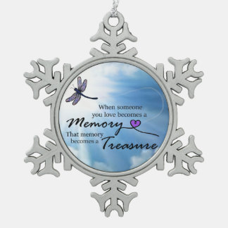 When someone you love, dragonfly snowflake pewter christmas ornament