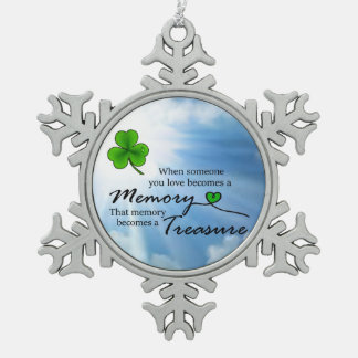 When someone you love, Shamrock Snowflake Pewter Christmas Ornament