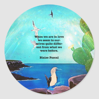 When We Are In Love Inspirational Quote Classic Round Sticker