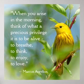 When You Arise Marcus Aurelius Inspiration Quote Poster