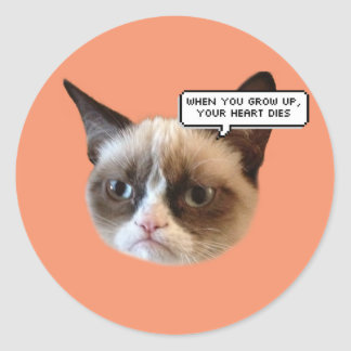 When you Grow Up, Your Heart Dies Cat Stickers