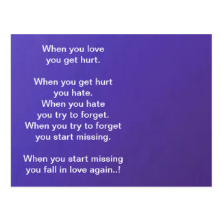 When you LOVE, you get HURT  Dark Blue Base Postcard