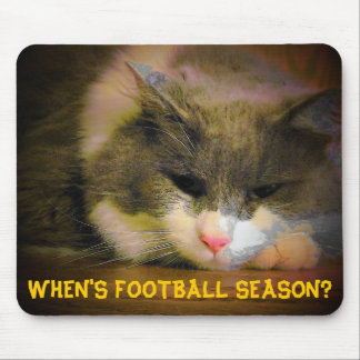When's football season? Sad Kitty Mouse Pad