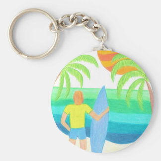 Where Are the Waves? Basic Round Button Key Ring