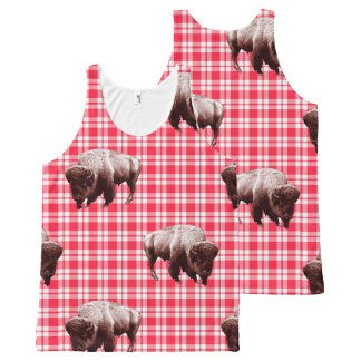 Where Buffalo Roam Red Gingham All-Over Print Tank Top