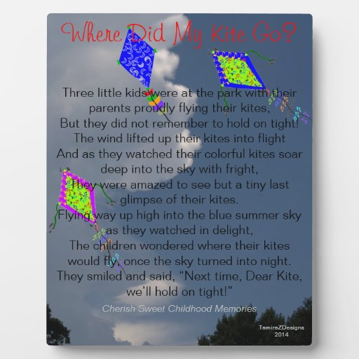 Where Did My Kite Go Childhood Memories Easel Plaque