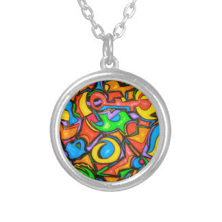 Where Did You Hide The Candy -Abstract Art Silver Plated Necklace