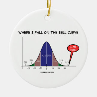 Where I Fall On The Bell Curve I Am Here Ceramic Ornament
