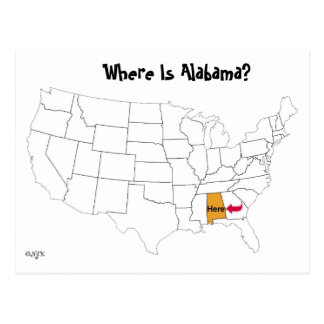 Where Is Alabama? Postcard