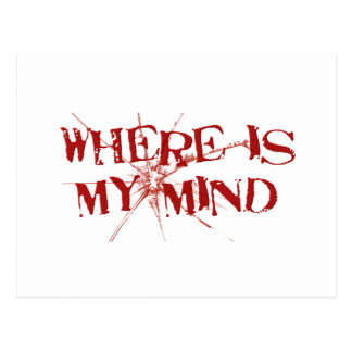 Where Is My Mind - Cracked Glass Red Messy Letters Postcard
