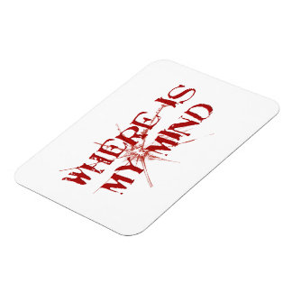 Where Is My Mind - Cracked Glass Red Messy Letters Rectangular Photo Magnet