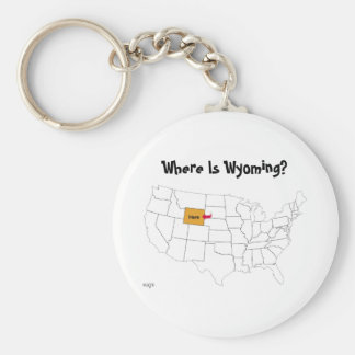 Where Is Wyoming? Basic Round Button Key Ring