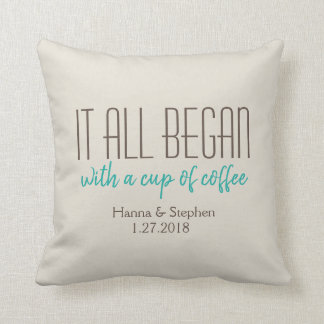 Where it All Began Mint Love Story Pillow
