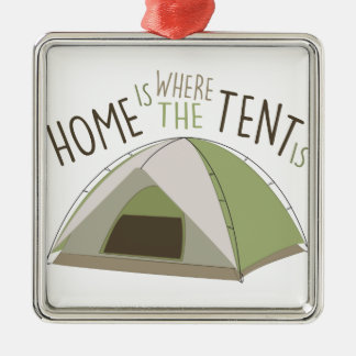 Where Tent Is Silver-Colored Square Decoration