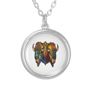 Where the buffalo roam silver plated necklace