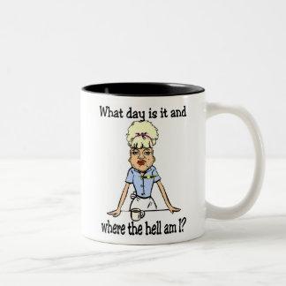 where the hell am i Two-Tone coffee mug