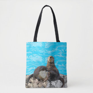 Where the River Meets the Sea Otters Tote Bag