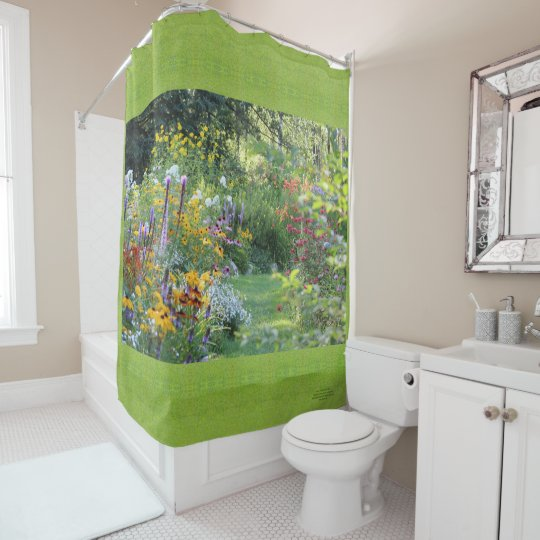 Where Three Gardens Meet, Chartreuse Green Grass Shower Curtain