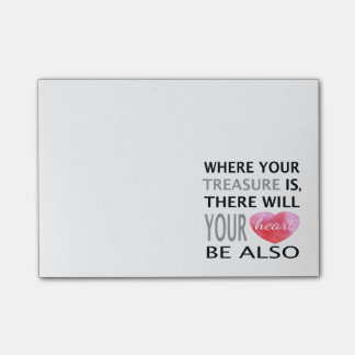 Where Your Treasure Is Inspirational Quote Pink Post-it Notes