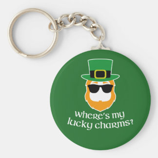 Where's My Lucky Charms? St Patrick Day Leprechaun Key Ring