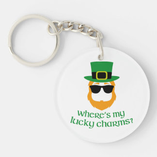 Where's My Lucky Charms? St Patrick Day Leprechaun Single-Sided Round Acrylic Key Ring