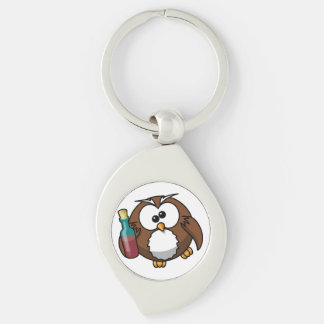"""""""WHERE'S THE PARTY?"""" DRUNK OWL Silver-Colored SWIRL KEY RING"""