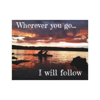 Wherever You Go - Sunset Kayaker Canvas Print