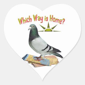 Which Way is Home? Pigeon Art Heart Sticker