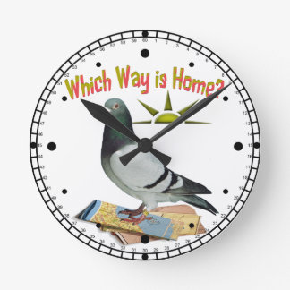 Which Way is Home? Pigeon Art Round Clock