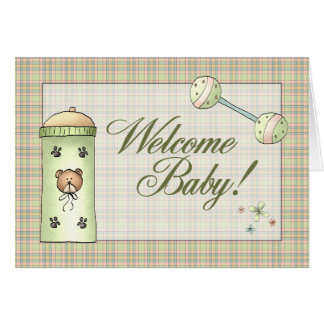 Whimical Plaid Welcome Baby Card