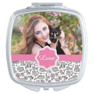 Whimiscal Pink and Gray Cartoon Cat Gift Ideas Mirror For Makeup
