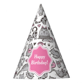 Whimiscal Pink and Gray Cartoon Cat Gift Ideas Party Hat