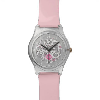 Whimiscal Pink and Gray Cartoon Cat Gift Ideas Watch