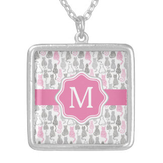 Whimiscal Pink and Gray Sketch Cat Gift Ideas Silver Plated Necklace