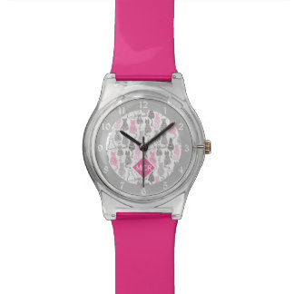 Whimiscal Pink and Gray Sketch Cat Gift Ideas Watch