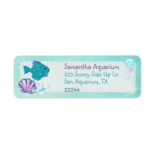 Whimsey Aquarium 2 Folk Art Return Address Label