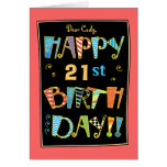 Whimsical 21st (or Any Age) Birthday Greeting Card