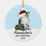 Whimsical 2nd Christmas Santa Zebra Personalised Round Ceramic Decoration